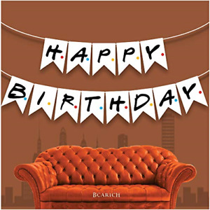 Friends TV Show Happy Birthday Banner Sign, Friends Themed Party Flag Banner,