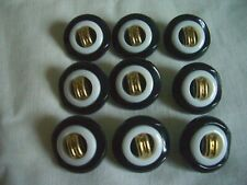 BLACK & WHITE WITH GOLD CENTRE BUTTONS  x 9  FREE P&P