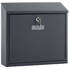VonHaus Lockable Wall Mounted Steel Mail Post Outdoor Outside Letter Box - Black