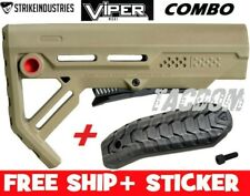 Strike Industries Viper FDE RED line MOD1 Compac Stock QD minimal W/ BUTT PAD #1