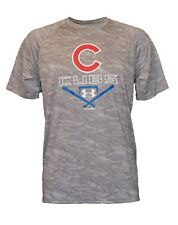 Under Armour UA Mens MLB Baseball Chicago Cubs Heatgear Compression Gray Shirt
