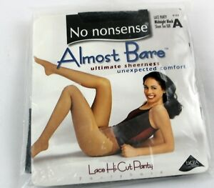 no nonsense sz A lace panty midnight black sheer toe IQ8 ultimate sheerness lace