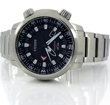 CITIZEN ECO-DRIVE MEN PROMASTER GMT DATE 200m SOLID STEEL 47mm BJ7080-53E