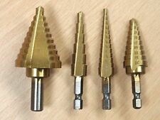 "4 PC HSS Titanium Coated Step Drill Bits Set SAE Sizes Bits ,Shank 1/4""; 3/8"""