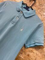 Ralph Lauren Women's Light Blue Skinny Polo T-shirt Top Size L LARGE