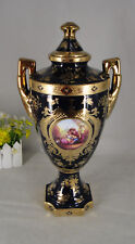 """Limoges Style 19"""" Table Urn in Cobalt Blue & Gold With Romance Design"""