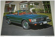 1977 Mercedes Benz 450 SL Convertible car print (green, no top)