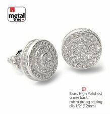 Screw Back Stud Earrings Se 11171 S Men's Hip Hop Silver Plated Double Round
