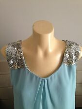Lovely Ladies Blue Top Size 12 Beaded Shoulder Detail With Tags