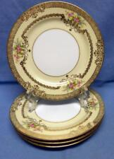 NORITAKE M CHINA 3983 GOLDFLEUR 4 SALAD PLATES US DESIGN PATENTED HAND PAINTED