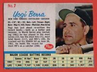 1962 Post #7 Yogi Berra VG-VGEX+ CREASE NEW YORK YANKEES HOF FREE SHIPPING