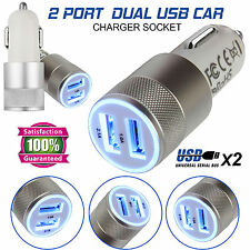 2 IN 1 UNIVERSAL LED USB 12-24V DUAL CAR CHARGER CIGARETTE SOCKET LIGHTER WHITE
