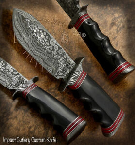IMPACT CUTLERY RARE CUSTOM DAMASCUS BOWIE KNIFE BULL HORN HANDLE