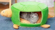Pet Kennel Dog Cat Nap Green Soft Cloth Turtle Shape Portable Orange Cushion Mat