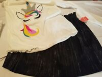 Unicorn Graphic Applique T-Shirt & Skirt Wonder Nation Set/2 Girl's Sz 14-16 NEW