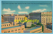 TX El Paso~Civic Center~County & Federal Court House~City Hall~1930s POSTCARD