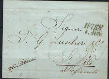1844 Austria stampless cover from Vienna to San Vito al Tagliamento (6/8/1844)