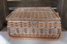 VINTAGE DRITZ TWINE WOVEN SEWING BASKET Large Orange White Twine Satin Lined