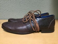 John Fluevog Gable Python Wraparound Lace Derby Shoes Leather Loafer Headliner