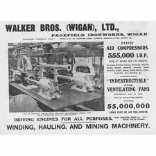 WIGAN Walker Bros Ltd; Pagefield Iron Works - Antique Engineering Advert 1909