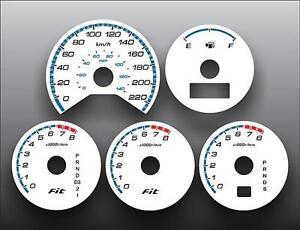 2007-2008 Honda Fit METRIC KPH KMH Dash Cluster White Face Gauges 07