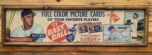 Antique Style 1951 Bowman Baseball Wooden baseball Card Sign Mantle Mays 6X24