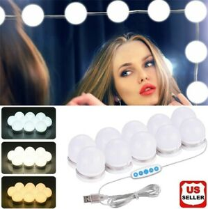 Make Up Mirror Lights 10 LED Kit Bulbs Vanity Light Dimmable Lamp Hollywood