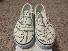 NEW Vans x Harry Potter Marauder's Map Print Classic Slip On Tan/Black HP Unisex