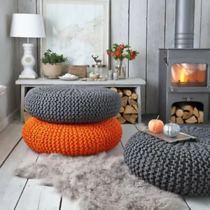 Hand Knitted Braided Ottoman Pouffe Footstool 50 x 50 x 30 FREE DELIVERY*