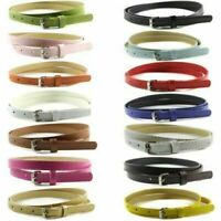 Women Lady Faux Leather Waistband Belt Thin Skinny Buckle Waist Strap 14 Colors