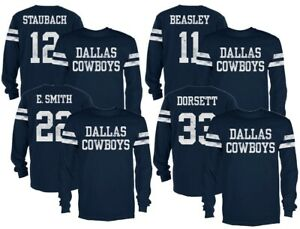 Dallas Cowboys Navy Starks Name and Number Long Sleeve T-Shirt