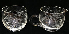 Miniature Cream and Sugar Set Etched Glass Wheat Floral Stem Pattern Dainty