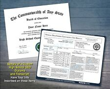 High School GED Diploma & Transcript - Test Equivalency Custom Personalized