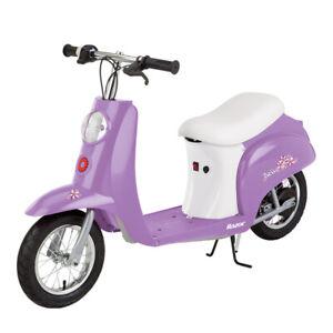 Razor Pocket Mod Miniature Euro 24V Electric Kids Ride On Retro Scooter, Purple