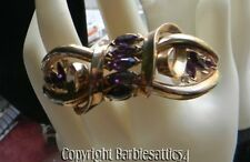 Vintage Signed Trifari Bracelet Marquise Amethyst Rhinestones
