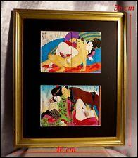 Estampes Peintures Japonaises en Couleur Couple Faisant l'Amour Encre Aquarelle