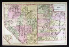 1882 Mitchell Map - Utah & Nevada - Las Vegas Great Salt Lake City Carson