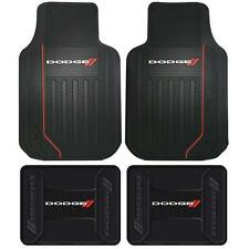 4 Front & Rear DODGE LOGO Floor Mats Rubber All Weather Factory Liners Black Red