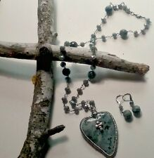Eagle Eye Jasper Wirewrapped Heart Pendant Rosary Necklace and Earrings  30""