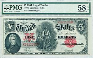 """1907 $5 Legal Tender """"Wood Chopper"""" Note AU-58 EPQ PMG Certified"""