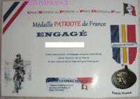 DIPL017 - DIPLOME MEDAILLE DU PATRIOTE DE FRANCE