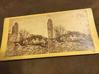 Rare Stereoview Great CHICAGO FIRE of 1871 McCagg's  Green House