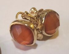 Vintage Goldtone Screw On Earrings w Faceted Amber Thermoset Centers
