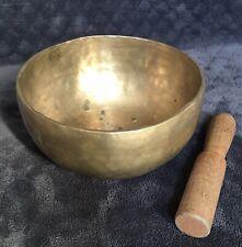Antique India Hammered Bronze Brass Buddhist Chakra Healing Singing Bowl