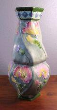 Royal Dux Antique Art Nouveau Poppy Pottery Vase Double Gourd Twist