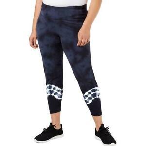 Ideology Womens Leggings Tie-Dyed Indigo 100052783MS Size Plus 2X