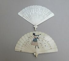 2 Vintage 1920s 1930s Art Deco Celluloid Hand Fans - One Hand Painted Girl