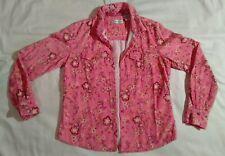 pink yellow flower jacket dress barn lieghtweight button up cotton flap pockets