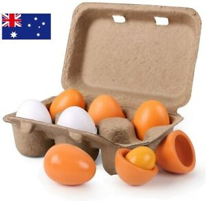 Wooden Eggs, 6PCS Easter Egg Toys Pretend Play Food Sets for Kids Early AU
