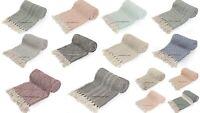 100% Cotton Herringbone Extra Large Sofa Bed Throw Rug Blanket 127 x 152 Indian